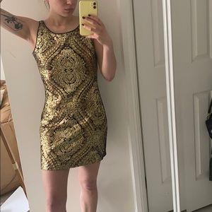 Sequined gold mini dress